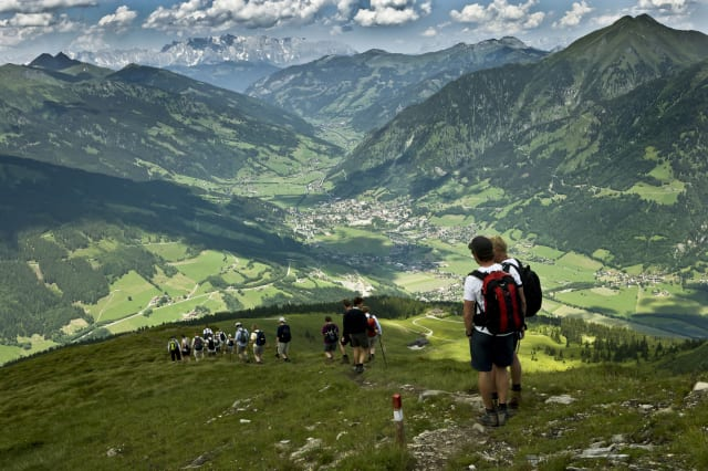 Hikers in Bad Hofgastein, Austrian Alps