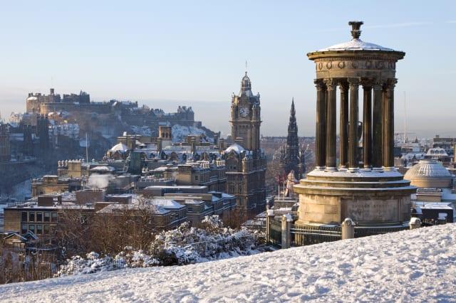 Edinburgh Castle and Cityscape in Winter