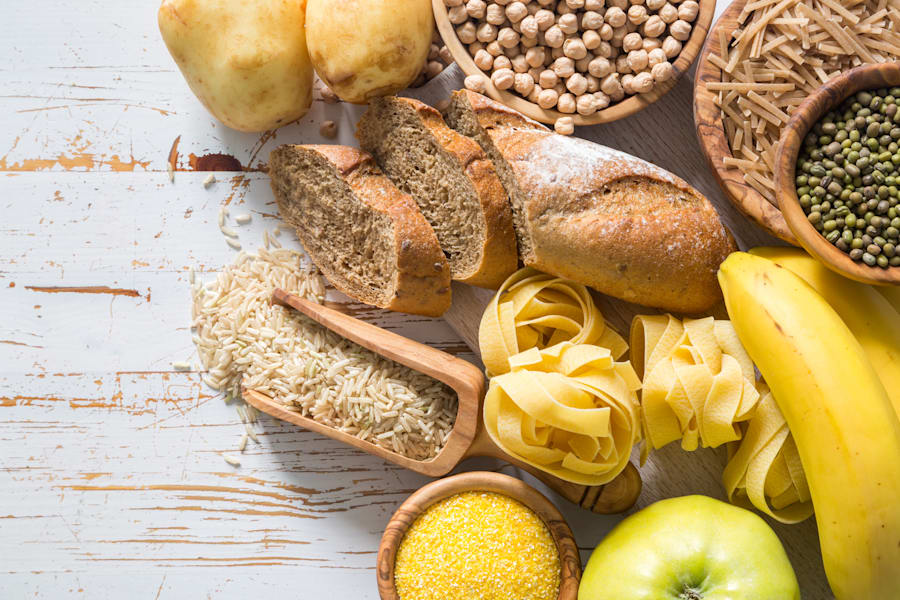 Go for complex carbohydrates like whole grain bread and pasta, brown rice, legumes and