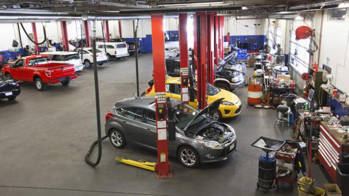Auto repair shop full of cars