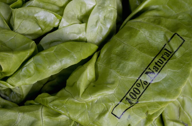 Butter lettuce stamped '100% Natural'