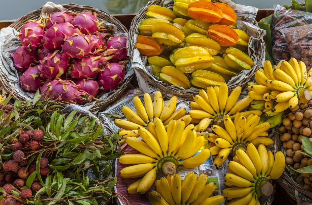 Fresh tropical fruit, floating market