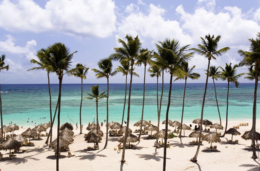 Beach umbrellas at Punta Cana beach.