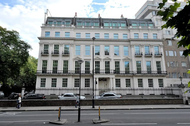 Rutland Gate in London where a real life Aladdin's cave is up for auction - the entire £50 million contents of a Saudi prince's mega mansion which will sell for just a fraction of the price. See SWNS story SWAUCTION;  The lavish £300 million property was decked out by world renowned interior design company Alberto Pinto during an epic two-and-a-half year refurb in the 90s. But now the mystery owner - thought to be a rich Saudi royal - wants the place gutted and done again so is selling every single item in a huge auction. None of the 1,250 pieces have a reserve, meaning everything from £70,000 Merino chandeliers to £300,000 gold plated Jade-encrusted bath taps could go for a fiver.