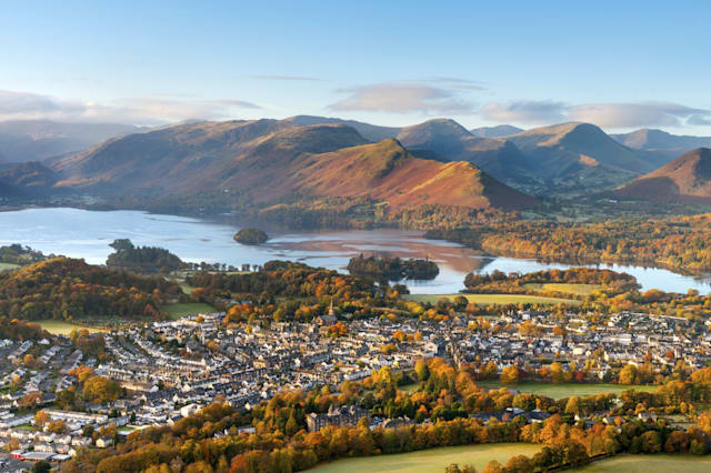 Looking over the small town of Keswick on the edge of Derwent Water in the Lake District National Park.