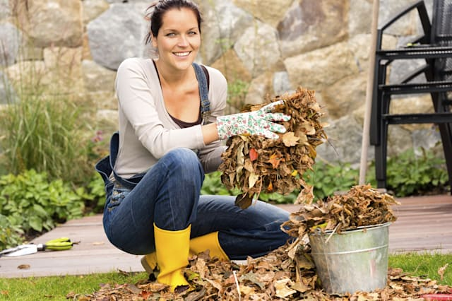 Smiling woman putting leaves garden cleaning gardening housework bucket