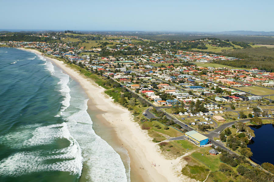 Aerial view of Lennox Head. Nice spot for a surf, and about to become one of the world's foremost winter...