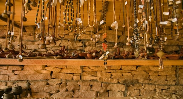 Local crafts at visitor center, Twyfelfontein World Heritage Site, Aba Huab Conservancy, Damaraland, Namibia