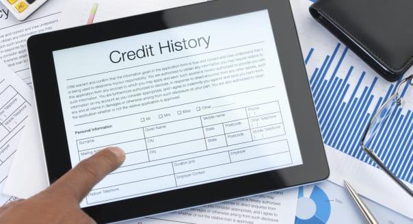 Credit history form on a digital tablet