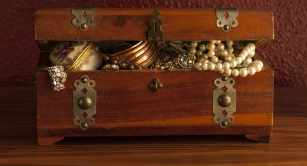 Jewelry box with keep sakes and jewelry