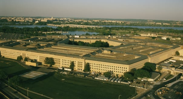 Arlington, Virginia. An aerial view of the Pentagon.