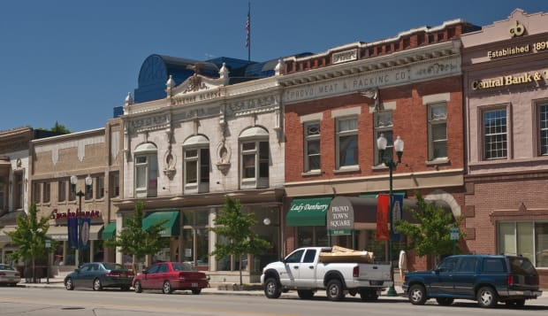 Historic shopping area on North University Avenue at Central Business District.