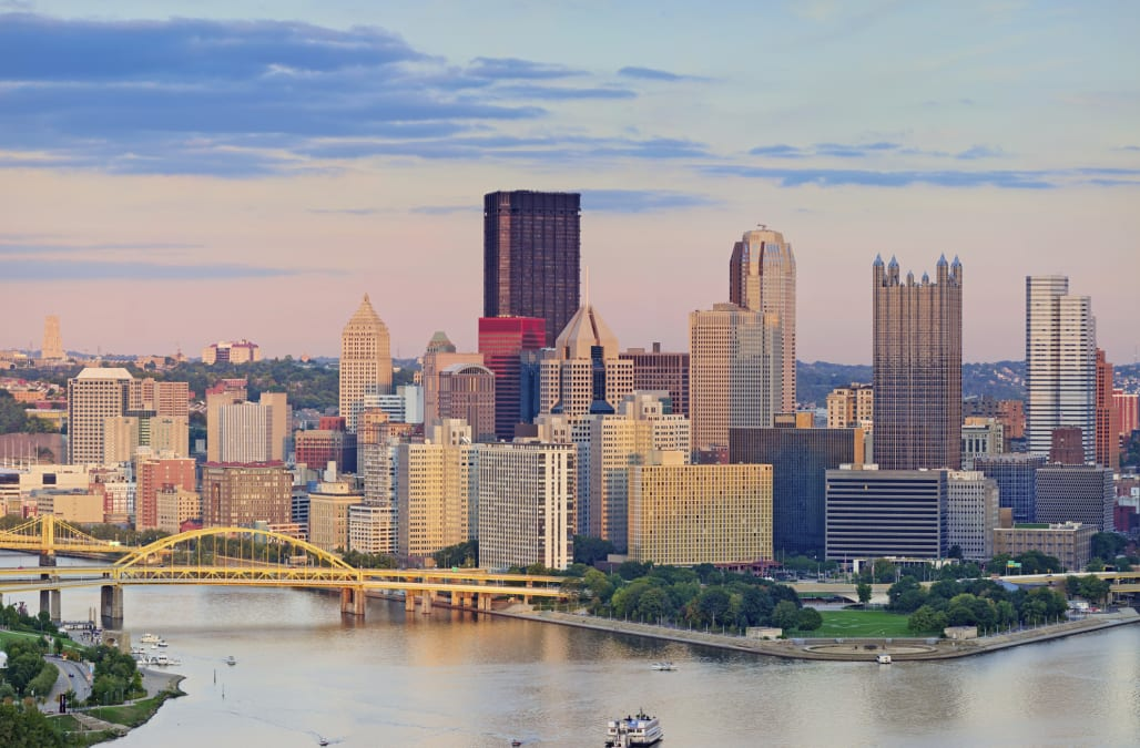 Image of Pittsburgh downtown skyline during summer sunset.
