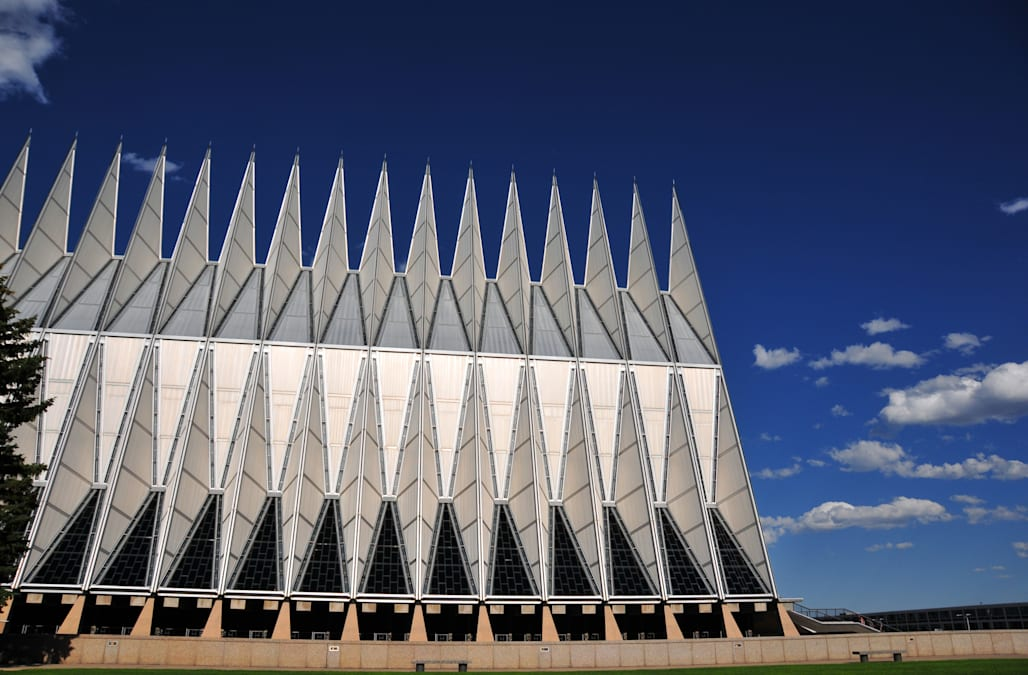 Side view of the US Air-Force Academy Chapel, Colorado Springs