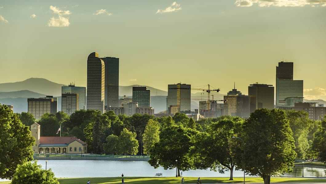 Denver Skyline with City Park in Foreground at Sunset