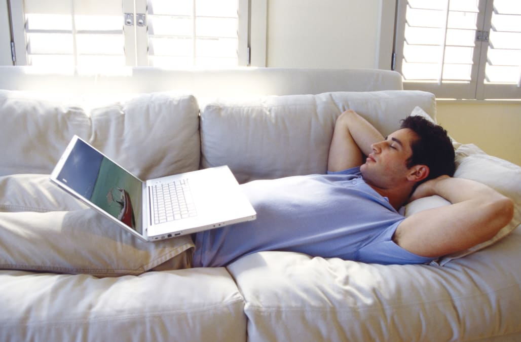 Man resting with laptop computer