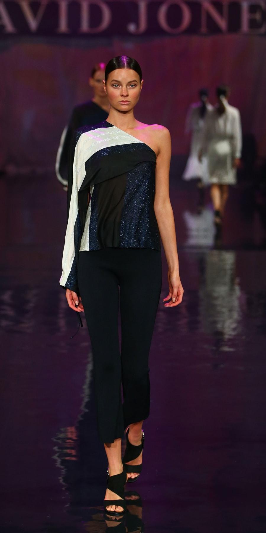 A model showcases designs by Scanlan