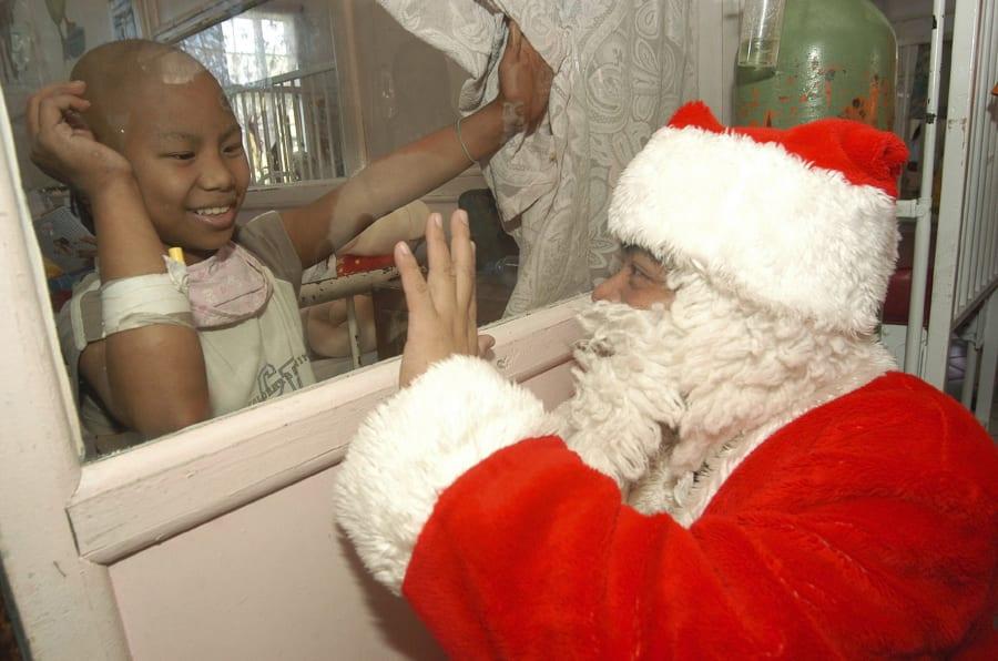 Santas often visit hospitals all around the