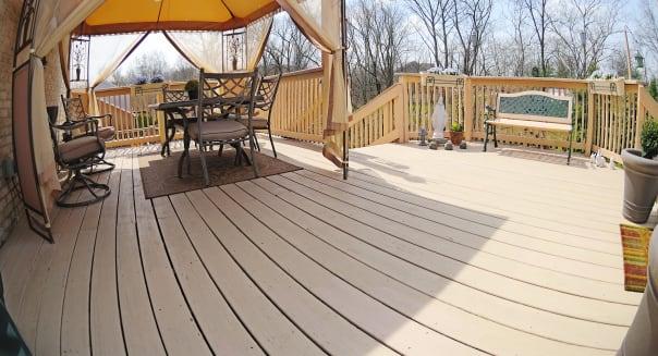 back yard deck of a suburban...