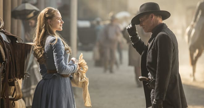 Evan Rachel Wood and Ed Harris in HBO's WESTWORLD