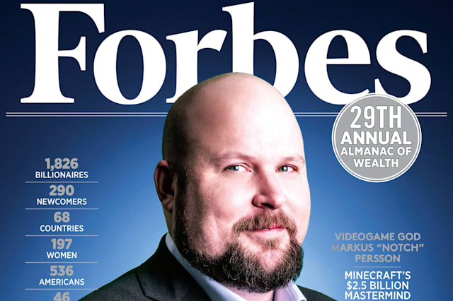 Undated handout photo issued by Forbes of the front cover of 2015's  Forbes World's Billionaires issue featuring Minecraft creator Markus Persson, whose fortune rose to 1.3 billion US dollars this year. PRESS ASSOCIATION Photo. Issue date: Monday March 2, 2015. The number of British billionaires on the 2015 Forbes rich list has risen to 53, up six from last year. Newcomers include Speedo brand owner Stephen Rubin, with a net worth of three billion US dollars, Monster energy drinks boss Hilton Schlosberg  and The Range homewear owner Chris Dawson. See PA story MONEY Forbes. Photo credit should read: Forbes/PA WireNOTE TO EDITORS: This handout photo may only be used in for editorial reporting purposes for the contemporaneous illustration of events, things or the people in the image or facts mentioned in the caption. Reuse of the picture may require further permission from the copyright holder.