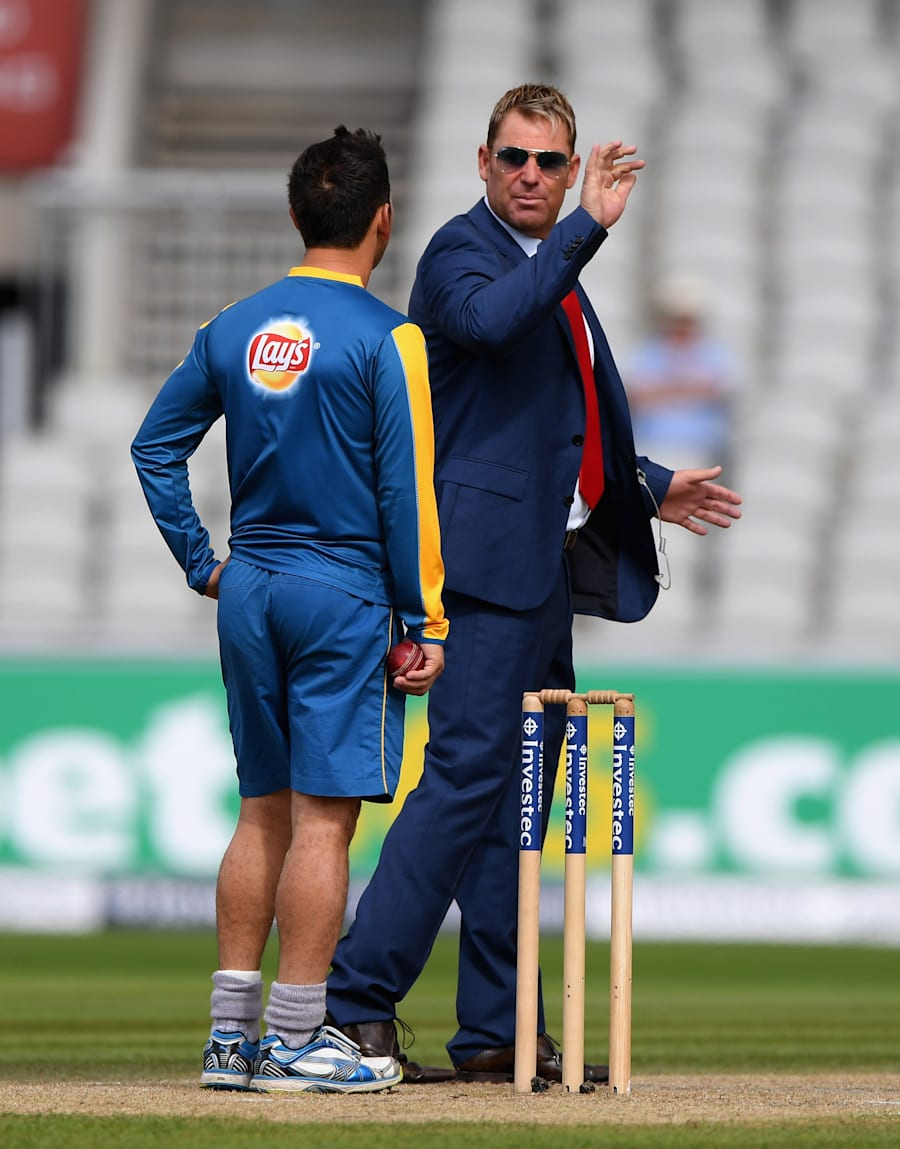 This was Warney giving Shah a little advice during the England series this year. Bowling,