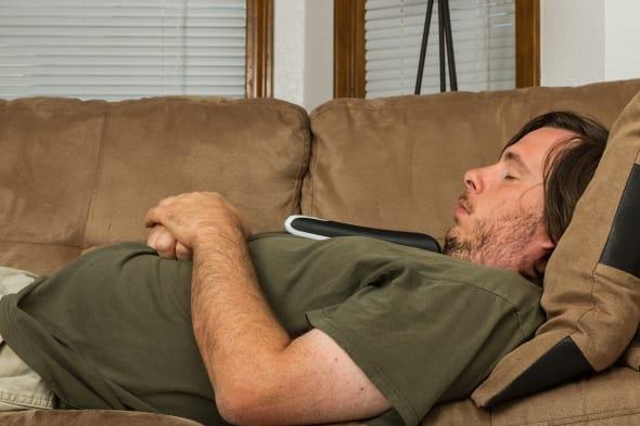 overweight couch potato asleep...