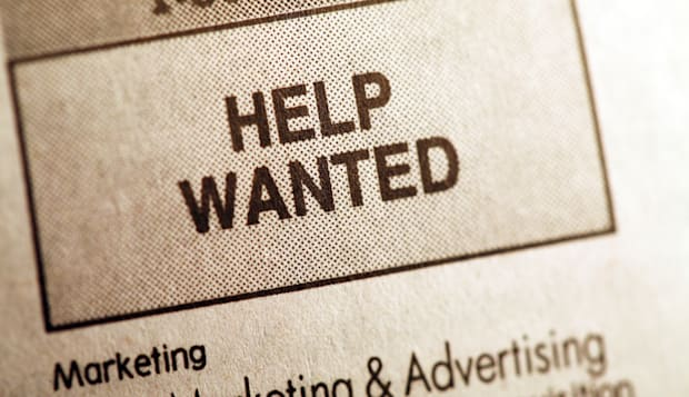 Help wanted ad in newspaper