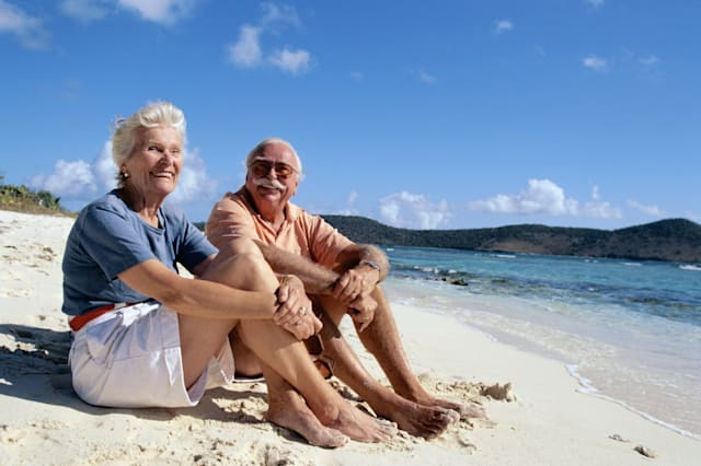 |american|beach|blue|caucasian|color|couple|elderly|enjoying|exterior|horizontal|island|left|leisure|lifestyle|lifestyles today|