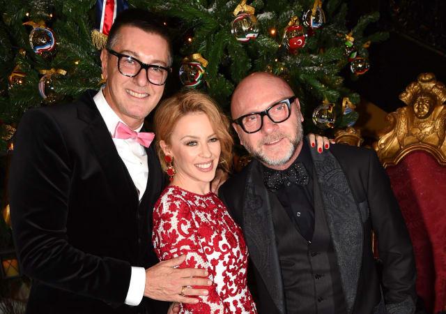 Mandatory Credit: Photo by Richard Young/REX (4255121u)Stefano Gabbana, Kylie Minogue and Domenico DolceClaridge's 'Dolce and Gabbana Christmas Tree Party', London, Britain - 19 Nov 2014
