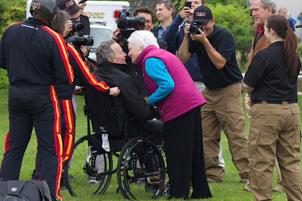 George H.W. Bush Celebrates 90th Birthday With Skydive In Maine