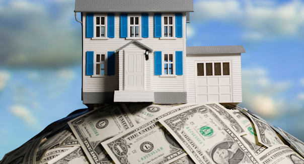 BJDH13 house on a pile of dollars Debt; Equity; Finance; House; Blue; Sky; Debt; Equity; Finance; House; Housing; Money; No; Peo