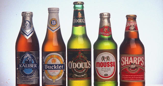 Bottles of various brands of non-alcohol