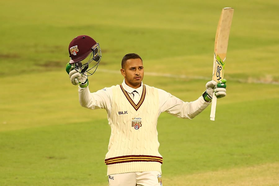 Ussie is having a great season. This is the star Aussie batsman back in state cricket scoring a century...