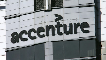 A photo of the Accenture logo is shown a