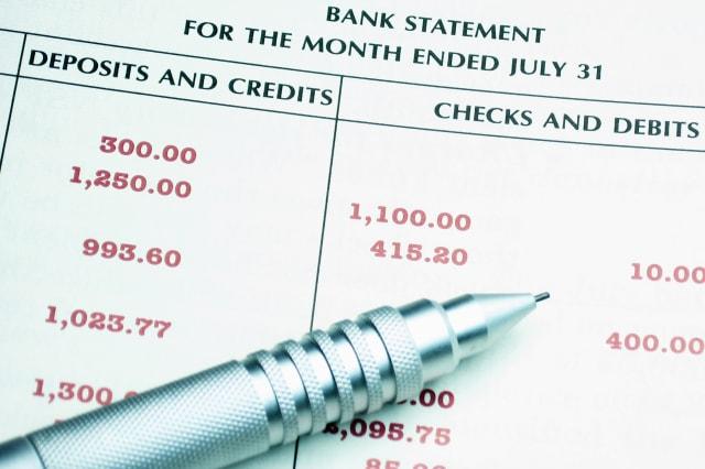 image of bank statement ...