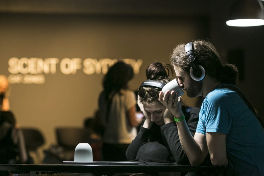The immersive work invites visitors to think about what they're
