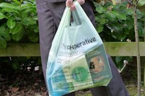 Undated handout photo issued by The Co-Operative of their compostable carrier bags which shoppers can use to carry home their groceries and then as liners for their food waste bins. PRESS ASSOCIATION Photo. Issue date: Wednesday January 15, 2014. The bags, which cost 6p each, are strong enough to carry shopping including heavy items such as milk and potatoes. But they are made of natural materials, which mean they can be turned into compost along with food waste, and have been approved for use as waste food caddy liners, the Co-operative said. See PA story ENVIRONMENT Bags. Photo credit should read: The Co-Operative/PA WireNOTE TO EDITORS: This handout photo may only be used in for editorial reporting purposes for the contemporaneous illustration of events, things or the people in the image or facts mentioned in the caption. Reuse of the picture may require further permission from the copyright holder.