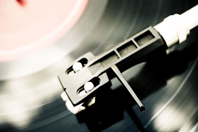 Vinyl disc being played in turntable