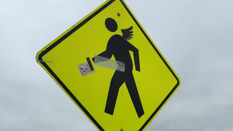 Pedestrian crossing sign at Mcity