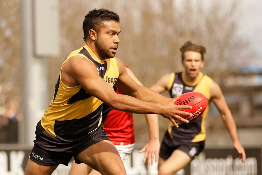 Kirby in August playing for Richmond in the VFL, one level below the