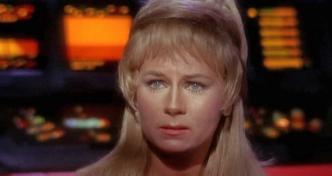 "LOS ANGELES - SEPTEMBER 15: Grace Lee Whitney as Yeoman Janice Rand in in the STAR TREK episode, ""Charlie X.""  Season 1, episode, 2.  Original air date September 15, 1966.  (Photo by CBS via Getty Images) *** Local Caption *** Grace Lee Whitney"