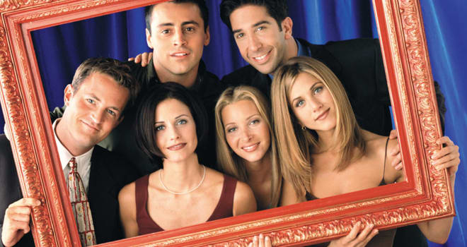 "The cast of the NBC television series ""Friends"" (L-R) Matthew Perry as Chandler Bing, Courteney Cox Arquette as Monica Geller,  Matt LeBlanc as Joey Tribbiani, Lisa Kudrow as Phoebe Buffay, David Schwimmer as Ross Geller and Jennifer Aniston as Rachel Green are pictured in this undated publicity photograph.The series received an  Emmy nomination as Best Comedy series as Emmy nominations were announced July 18, 2002 in Los Angeles. The Emmy Awards will be presented in Los Angeles September 22. NO SALES REUTERS/Jon Ragel/NBC/Handout"