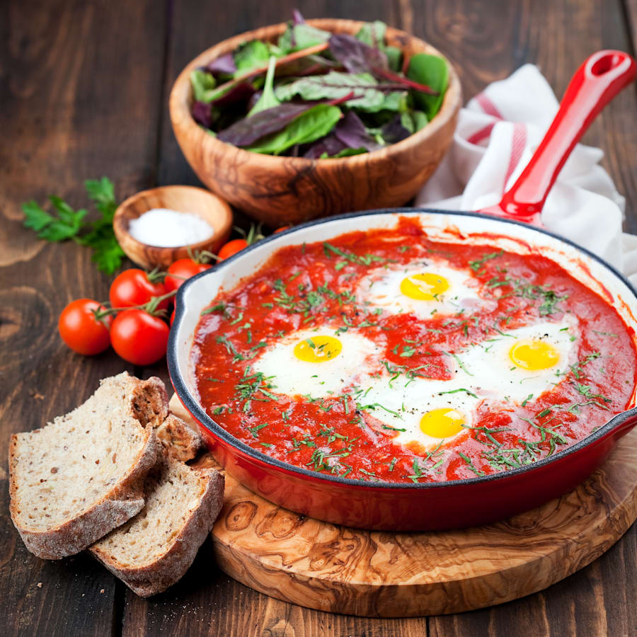 Shakshuka is a warming tomato dish baked with eggs and is perfect for dipping crusty toast