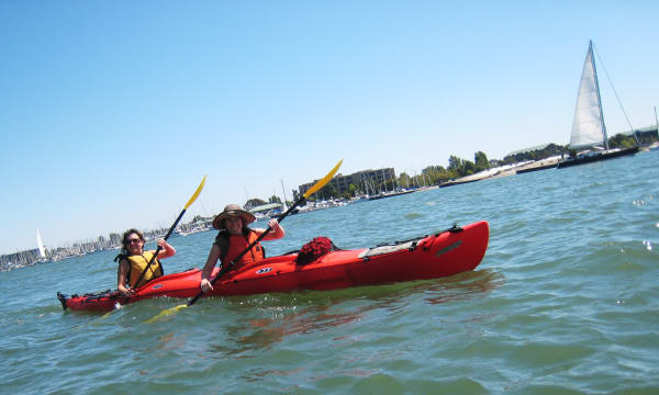 072510 Betsy & Marghi Kayaking up the Estuary