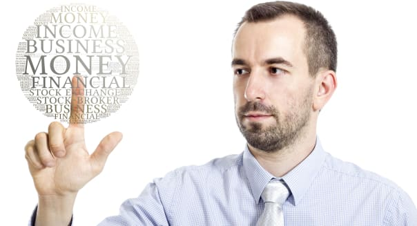 "Young businessman touching ""Earn Money"" word cloud"