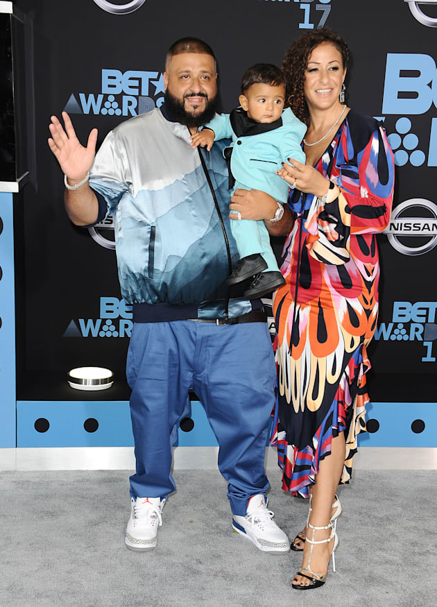 DJ Khaled, Nicole Tuck and son Asahd Tuck Khaled attend the 2017 BET Awards at Microsoft Theater on June...
