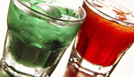 Holiday color drinks with ice