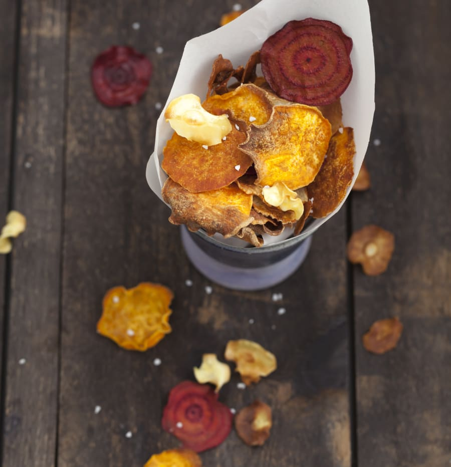 Try the veggie chip variety with sweet potato, beetroot and