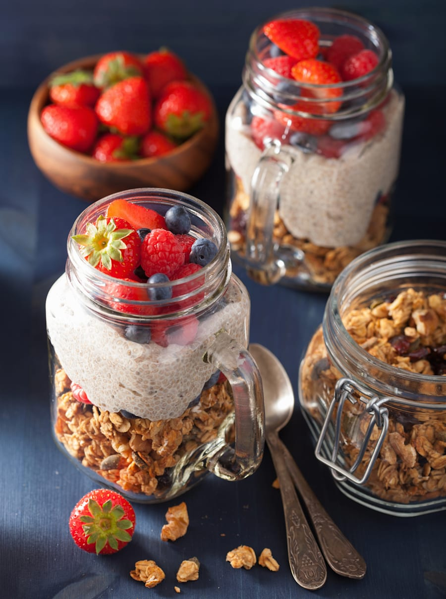 Chia pudding and granola together is the perfect mix of smooth and